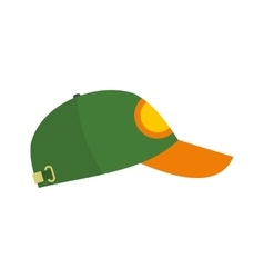 Green baseball hat flat icon vector