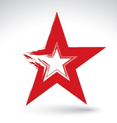 Hand drawn soviet red star icon scanned and brush vector image vector image