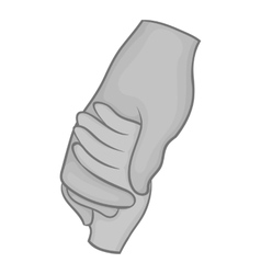 Hand holding baby hand icon monochrome style vector
