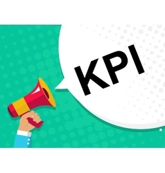 Hand holding megaphone with kpi - key performance vector