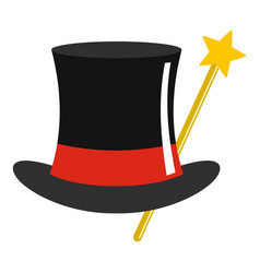 hat with wand icon cartoon style vector image