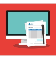 Invoice document and computer design vector