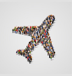 large group of people in the airplane shape vector image vector image