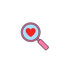 magnifier with heart solid icon love searching vector image vector image