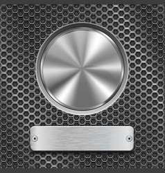 metal round button with rectangle plate on vector image vector image