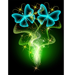 neon butterfly vector image vector image