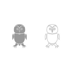 owl grey set icon vector image