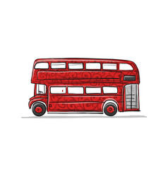 Red bus sketch for your design vector
