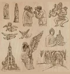 Religion around the world - set hand drawn vector