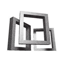 Retro rectangular frames with dotwork shadows vector image vector image