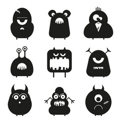 set of cartoon cute funny monsters isolated vector image