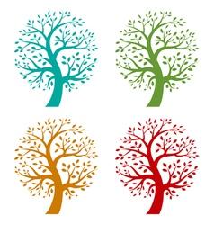 Set of colorful season tree icons vector