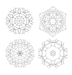 Set of Ethnic Fractal Mandala Meditation vector image vector image