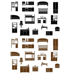 Set of flat furniture icons vector image vector image
