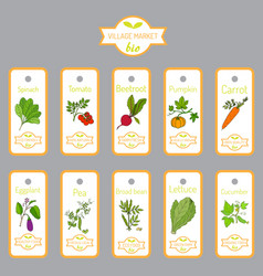 set of labels with hand drawn vegetables vector image