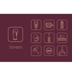 Set of tavern simple icons vector