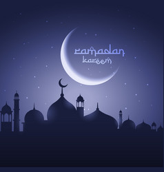 shining moon with mosque eid festival greeting vector image
