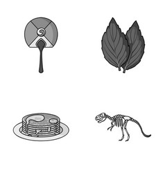Travel cooking and other monochrome icon in vector
