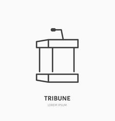 tribune flat line icon podium event equipment vector image
