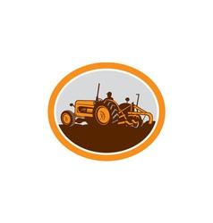 Vintage farm tractor farmer plowing oval retro vector