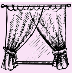 window frame with curtain vector image