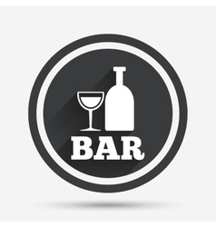 Bar or pub sign icon wine bottle and glass vector