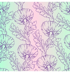 Garden flowers seamless hand-painted soft gradient vector