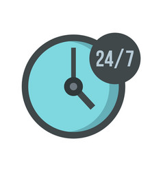 Open or served around the clock icon flat style vector