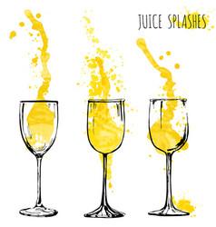 juice orange and apple splashes in wine glasses vector image