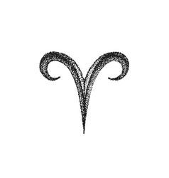 Hand drawn aries zodiac sign vector
