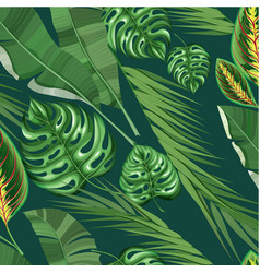Realistic exotic tropical floral pattern vector