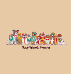 Group fashion best friends pets fun animals card vector