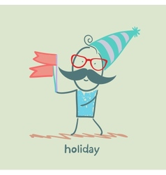 Holiday at the person with flags vector