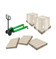 A pallet truck loading a shipping box vector