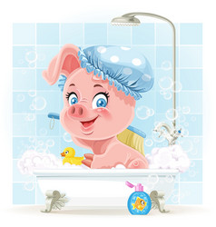Pretty pink little piggy taking a bath with foam vector