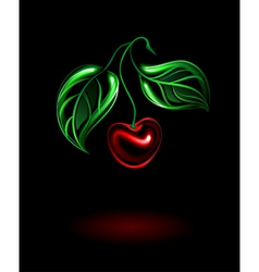 Glowing cherry vector