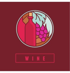 Wine label in flat simple style vector