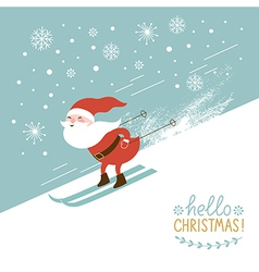 Santa skiing down a mountain slope vector