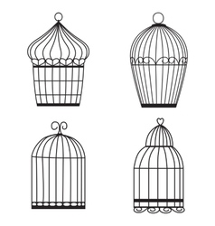 Silhouette birdcages collection set vector