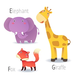 Alphabet with animals from e to g vector