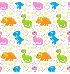 Dinosaur bright seamless pattern vector