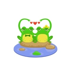 Cartoon frog character couple vector