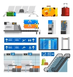 Airport interior flat color decorative icons set vector