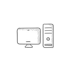 Cpu and monitor sketch icon vector