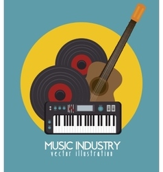 Acoustic guitar and piano isolated icon design vector
