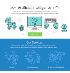 Artificial intelligence banner set vector
