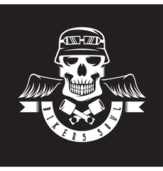 Biker theme label with pistons wings and skulls vector