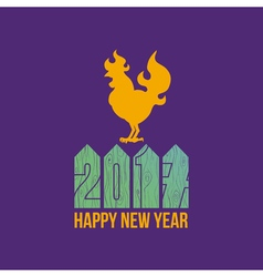 Card fire rooster logo cock silhouette with text vector