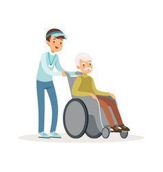 Cheerful teen boy pushing old man on wheelchair vector