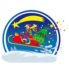 christmas sled vector image vector image